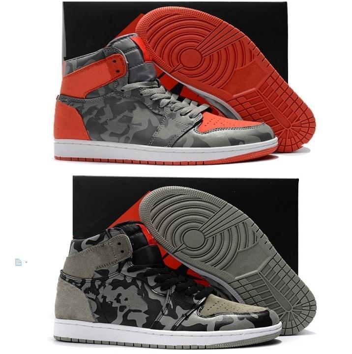 2019 NUEVA alta calidad 1s Camo 3M Reflect zapatos de baloncesto de los hombres de alta 1 de camuflaje gris rojo zapatillas deportivas con los zapatos de la caja
