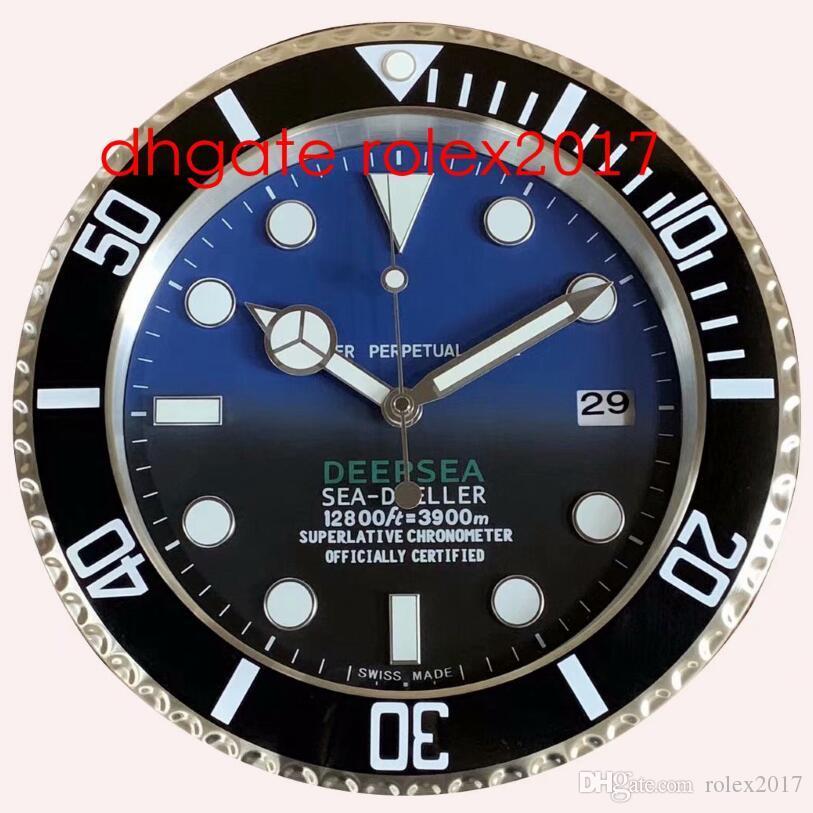 6 stil duvar saati deniz 126660 126600 116660 34 cm x 5 cm 2 kg paslanmaz çelik kuvars kronograf mavi lüminesans ev dekorasyon saat 2021