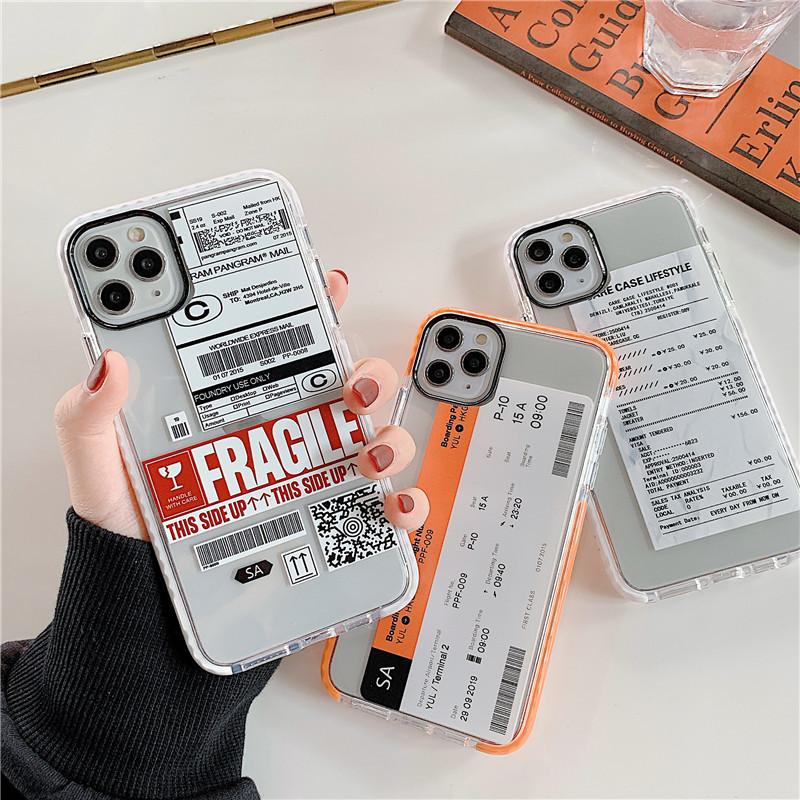 NS Cute Personality Tags Label case for iPhone X XS MAX 11 Pro 7 8 plus luxury Funny Air Ticket Letter soft clear cover capa