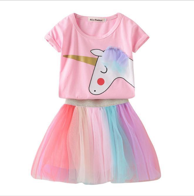 Девушки Единорог одежда набор малышей девушки хлопок футболки дети тюль Радуга Туту юбки младенческой розовый милый Единорог рубашка пони костюм