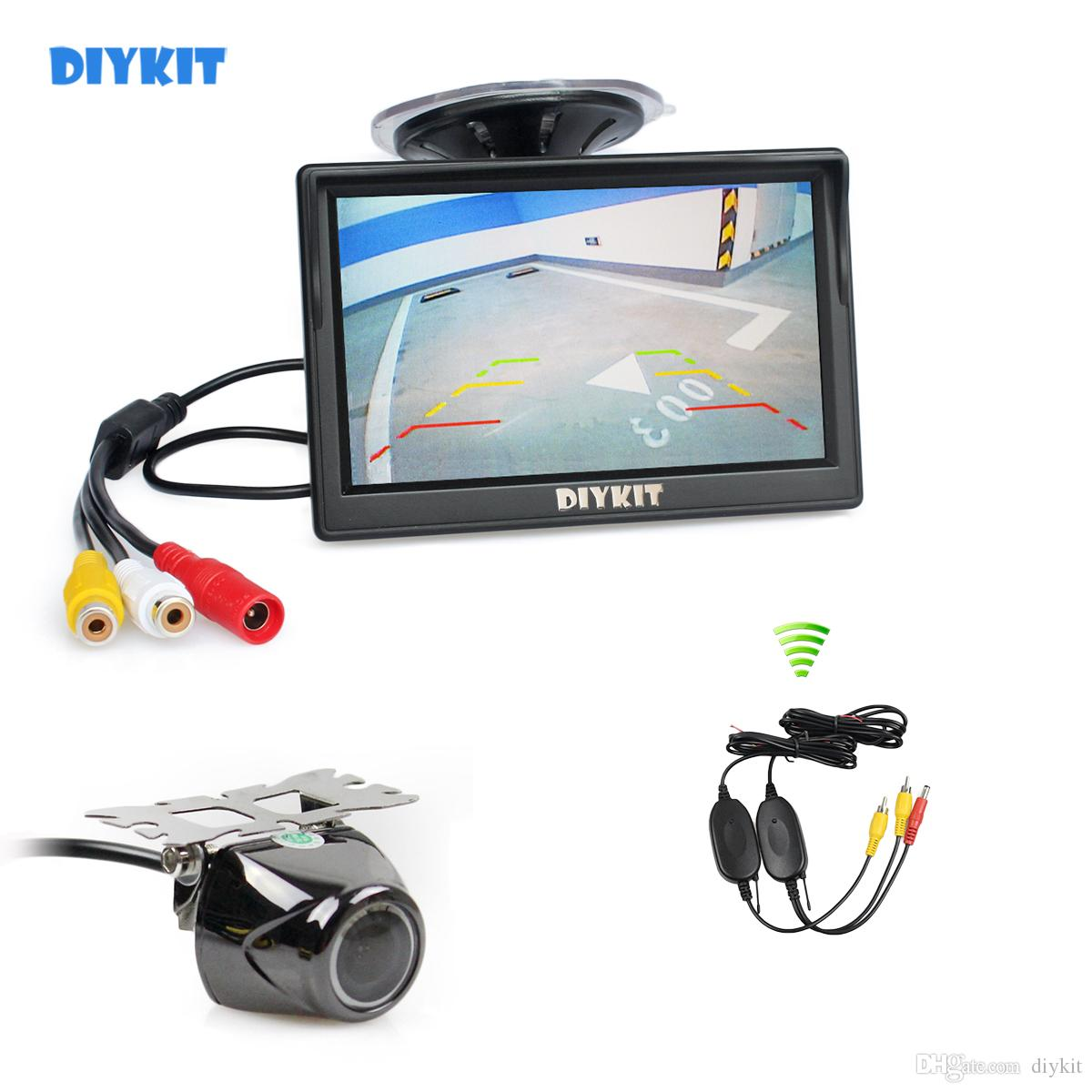 DIYKIT Wireless 5inch TFT LCD Display Car Monitor with Waterproof Night Vision Security Metal Car Rear View Camera