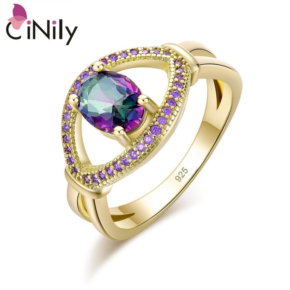 Cinily Droplet Mystic Stone Rings Violet Purple Zircon Crystal Yellow Gold Color Large Luxury Ring Party Jewelry Gift Women Girl J190704