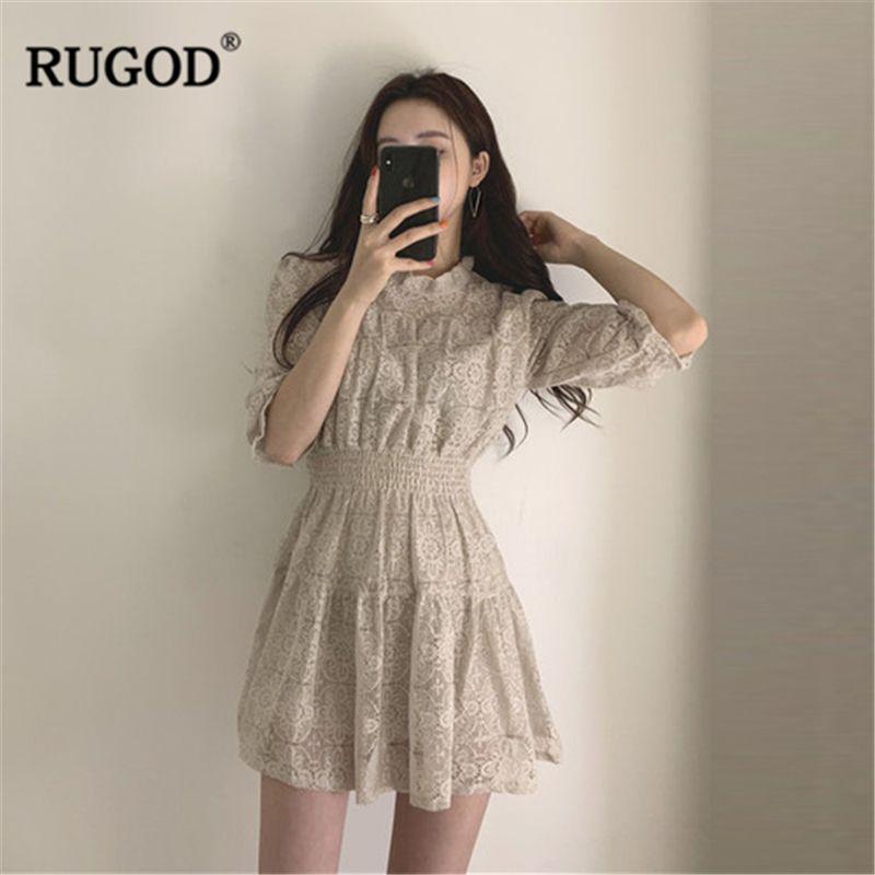 RUGOD Elegant Sweet Lace dress Women fashion Party Night Collect Waist dress Korean Style O-neck Half-sleeve Kawaii mini dress T200416