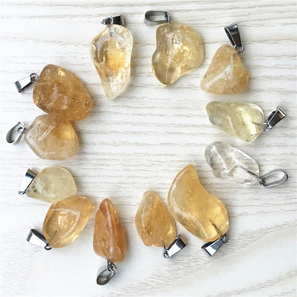 Vente en gros Nouvelle Mode Pierre Naturelle Irrégulière Citrines Jaune Quartz Cristal Pendentif Collier Pierre Pendentifs 10pcs