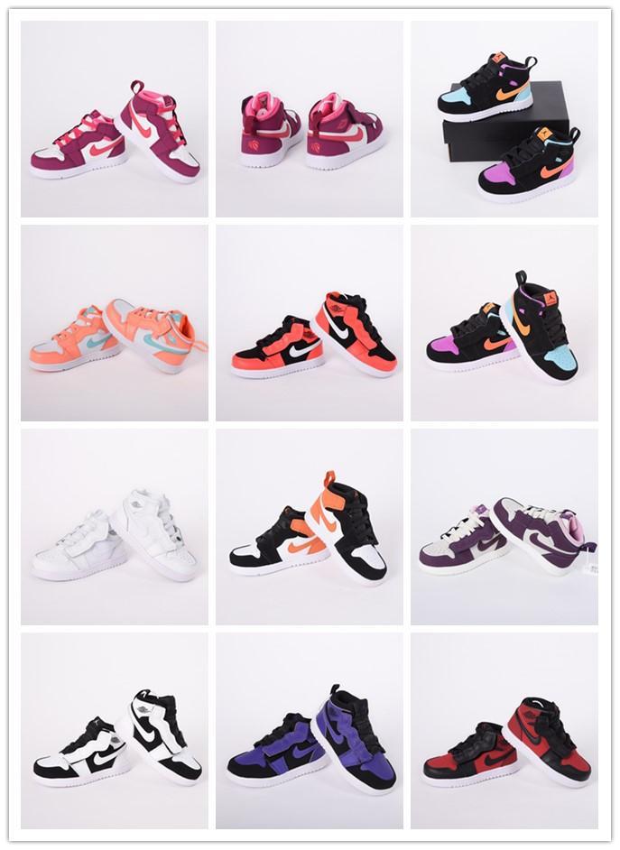 Kid Jumpman детские баскетбольные туфли 1s резинка высокая черный красный младенческой маленький маленький 1 мальчики девочки кроссовки молодежи малыша размер обуви 6C-3Y