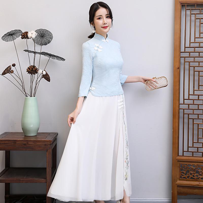 Sommer Neuer Stil der ethnischen Mode Verbesserung Cheongsam Routine bestickt Körper Reparatur Studenten im chinesischen Stil tragen 100-fach Bluse 2sets