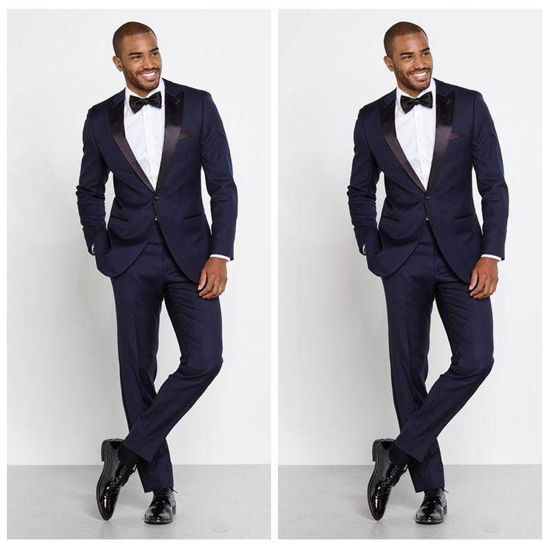 Сделанные на заказ темно-синий Peak Lapel 2020 Мужские официальные костюмы Groomsmen Тонкие женихи смокинги две части Свадебные деловые костюмы (куртка + брюки + лук)