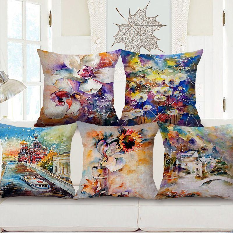Acuarela impresión algodón sofá abrazo funda de almohada muebles para el hogar automóvil almohada algodón cojín puede venir imagen personalizada