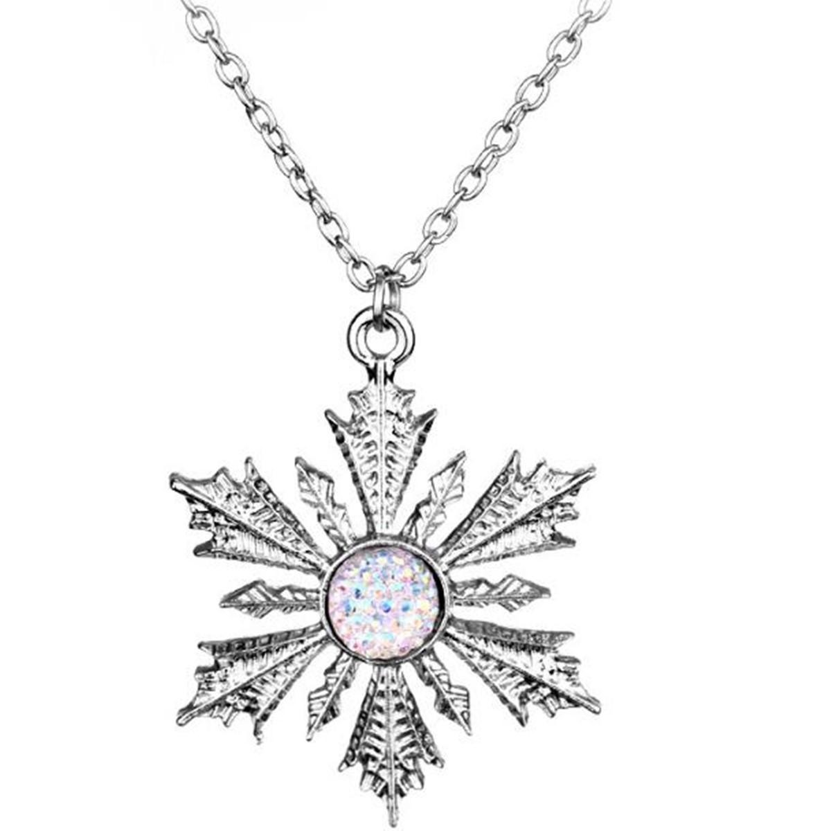 Подвески Принцесса Снежинка Choker ожерелье Моды цветок Женщина Подвеска Ожерелье рождественских подарки ювелирные изделия Донченг Once Upon A Time