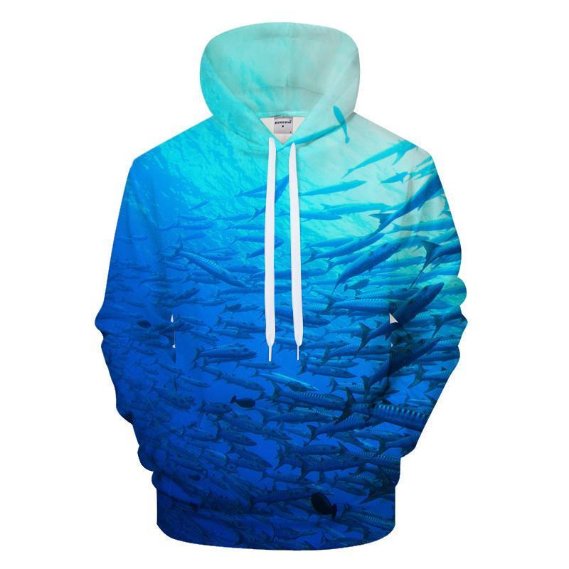 Mens 3D Fish Print Sweatshirts Fashion Designer Autumn Thick Hoodies Loose Sleeve Couple Clothing Crew Neck Casual Apparel