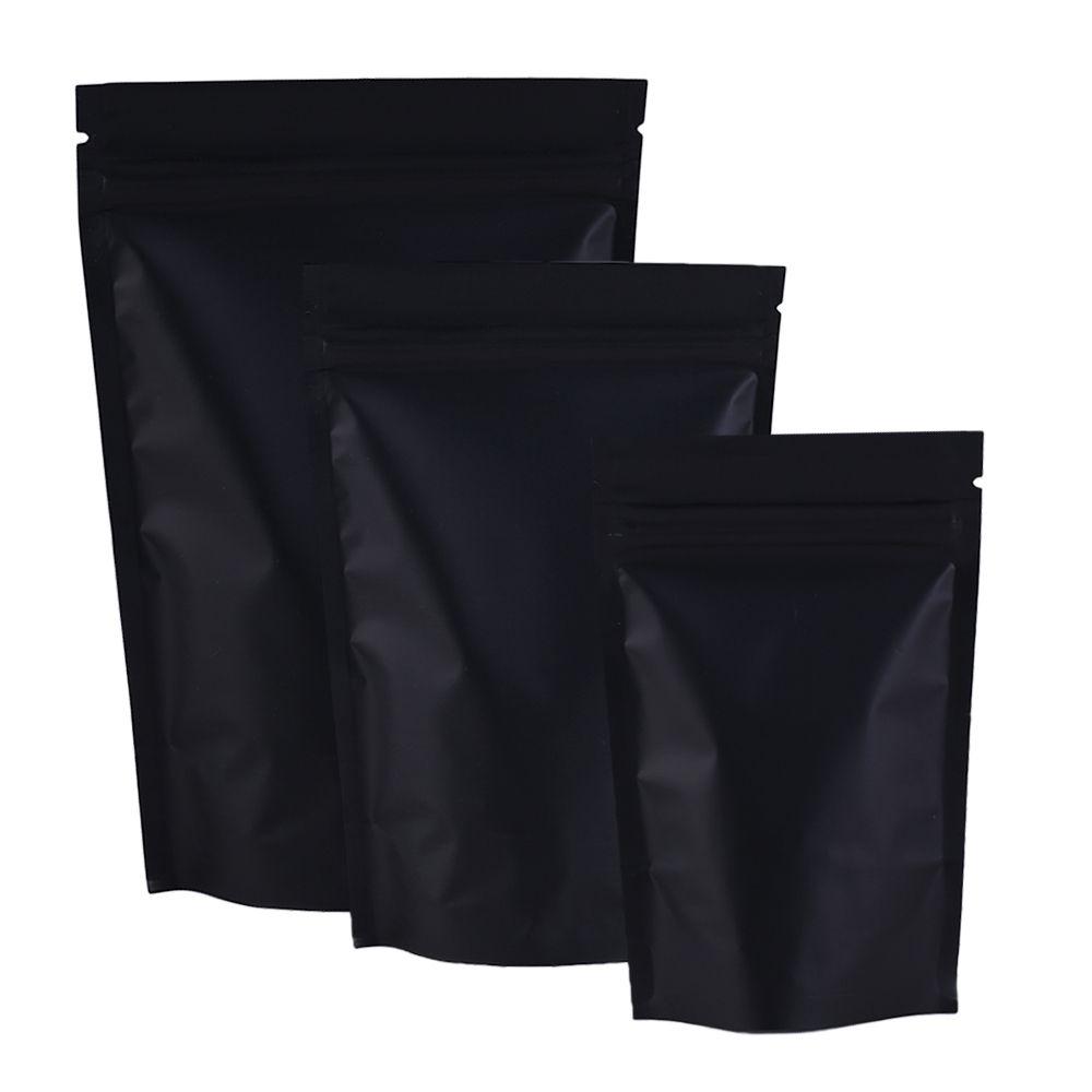 Standplatz 100pcs / lot MatteBlack Mylar Folie Reclosable Up Beutel Reiß Notch Reißverschluss-Verschluss-Verpackungs-Beutel 3.25x5in / 8.5x13cm