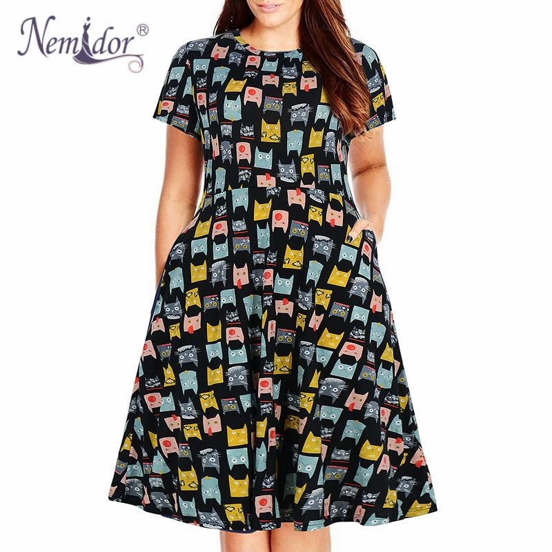 Nemidor Women Casual O-neck Short Sleeve 50s Party A-line Dress Vintage Print Midi Plus Size 8xl 9xl Swing Dress With Pockets MX19070401