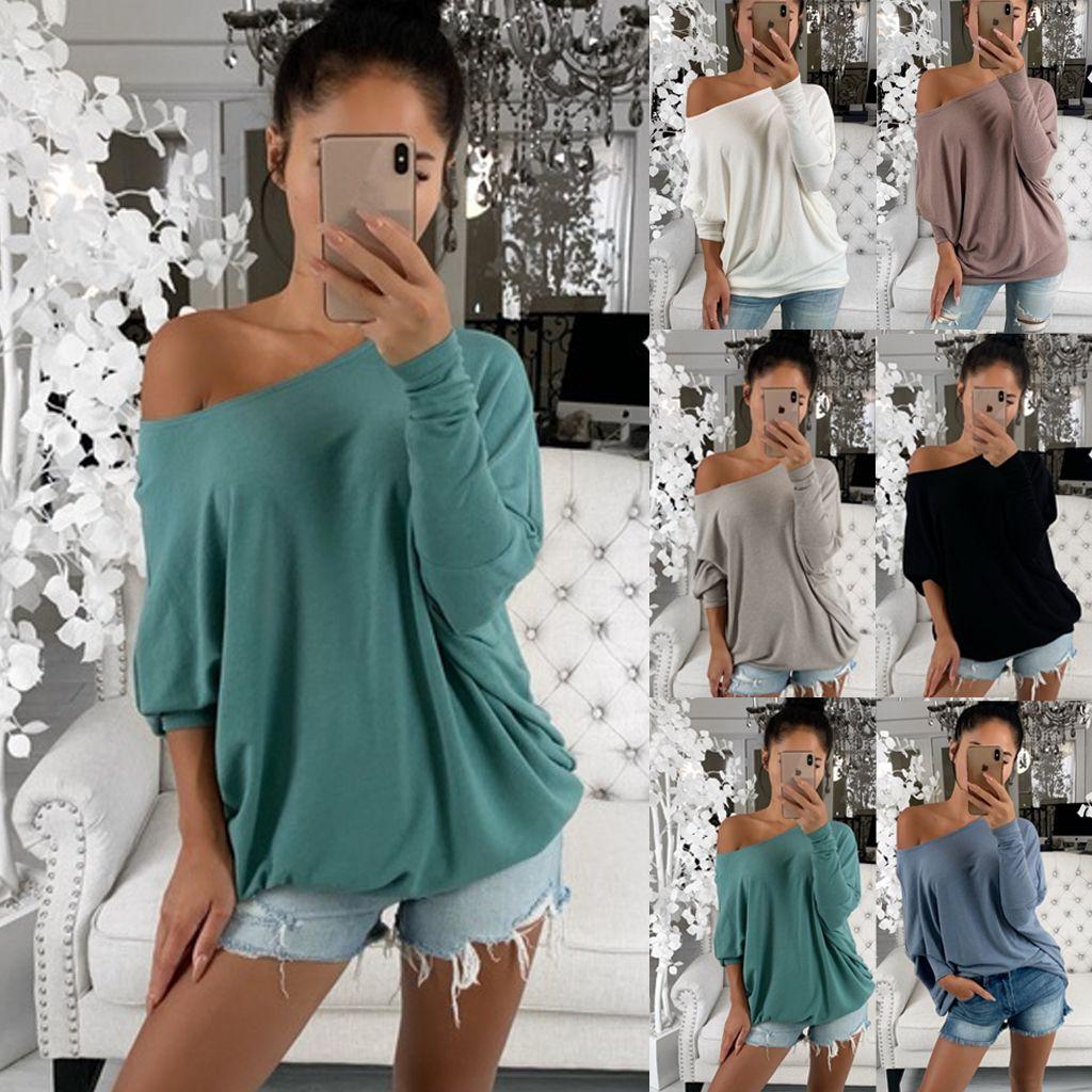 어깨 위에 여자 옷 여자 느슨한 블라우스 긴 소매 패션 숙녀 셔츠 특대 탑 오프