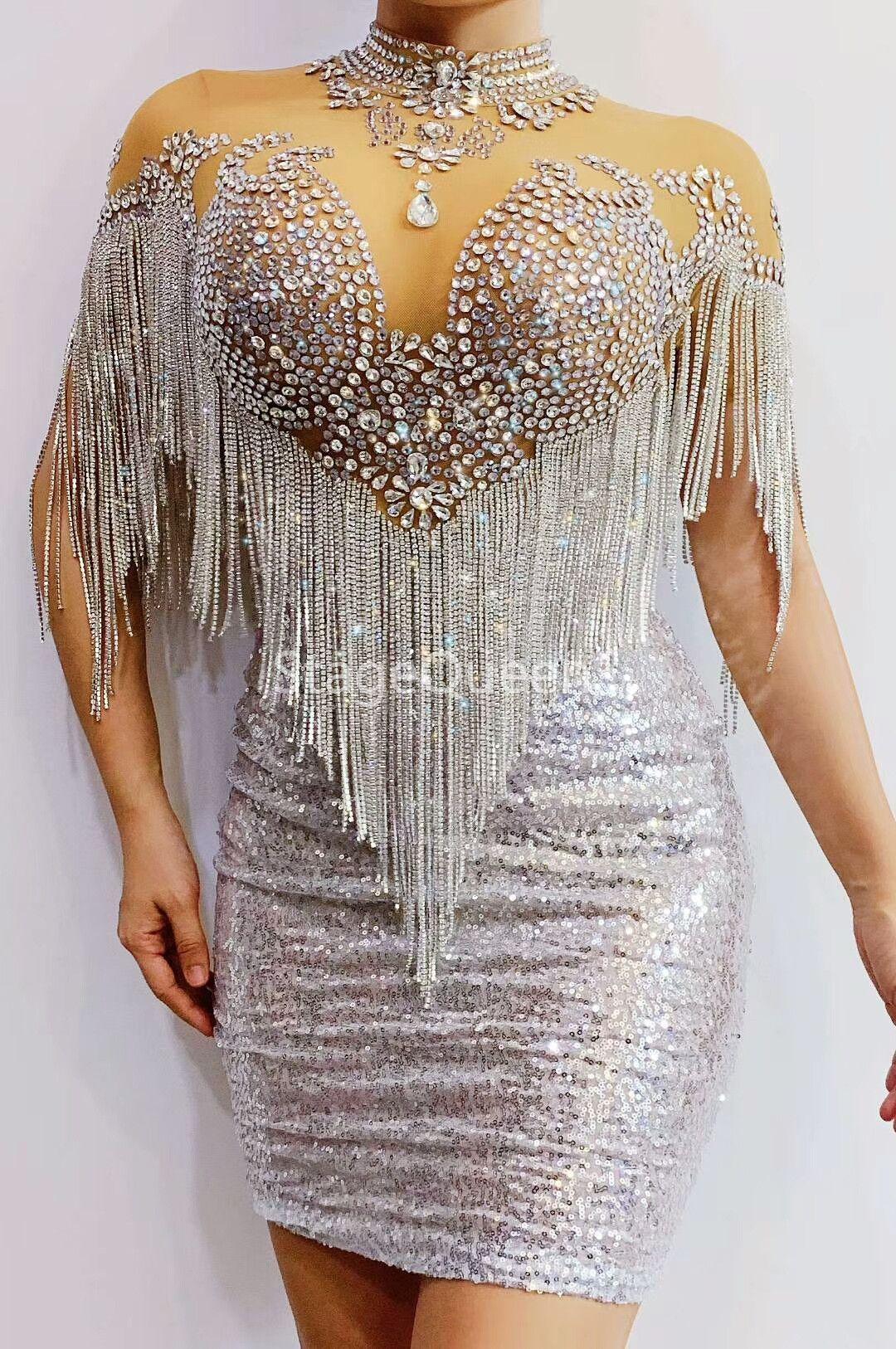 Compleanno 2 Stile lampeggiante Strass frangia Paillettes vestito delle donne Festeggia vestiti di gala ballerino Bar Prom Dress
