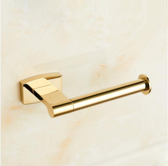 Toilet Roll Paper Holder Single Rail Towel Rack Bar Hanger Bathroom Accessories Bath Shower Clothing Wall Mount Shelf Brass Gold Color