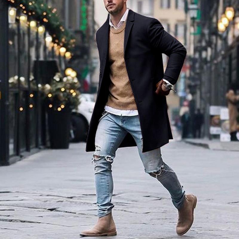 Sonbahar Kış Erkek Marka Polar Karışımları Ceketler Erkek Palto Rahat Katı Ince Yaka Mont Uzun Pamuklu Trençkot Streetwears