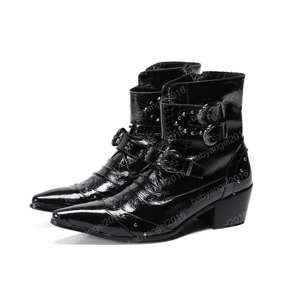 Punkart befestigt Männer Motorrad-Stiefel Mode Spitzschuh-Partei Echtes Leder Ankle Boots Buckle Cowboy Lederstiefel Big Size