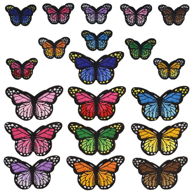 20 estilos Mariposa Insignias Vestido Bordado Patch Applique Plancha Plancha Suministros Suministros Decorativos Parches para Ropa