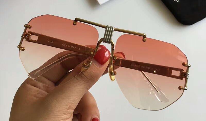 Gafas de sol de diseño de lujo Oro / Pink Shades Occhiali da Sole Sonnenbrille Gafas de sol Eyewear Nuevo con caja UWFXD