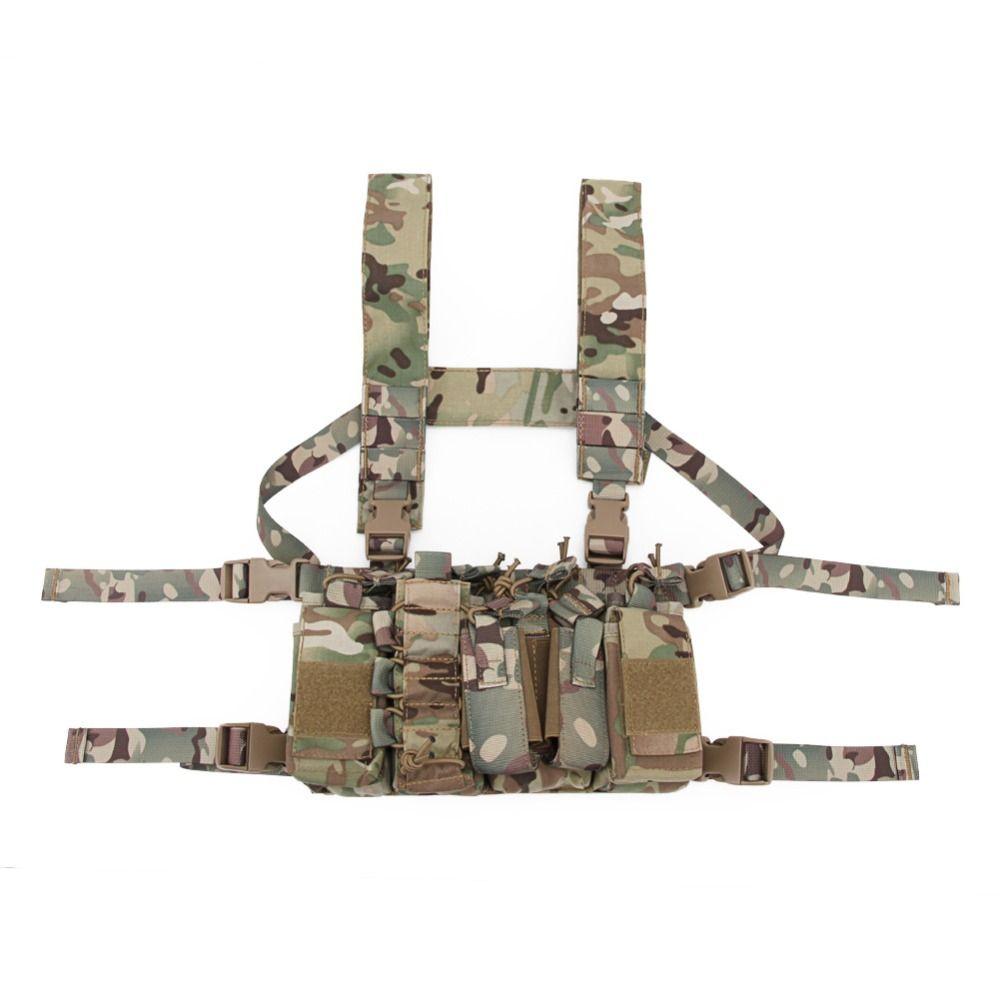 Tactical Sling Vest MOLLE Bolsa 1000D Nylon Colete Belt Combate Exército Batalha Cummerbunds com Ombro Sling Harness