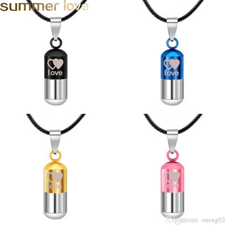 Creative Capsule Pill Pendant Necklace Classic Couple Pendant Necklaces Space Popular Stainless Steel Leather Necklace Valentine's Day Gift