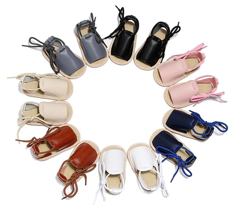 7 ألوان INS الطفل الوليد بيرفوت صندل الصيف أحذية Prewalker المطاط وحيد عارضة المضادة للانزلاق ربط الحذاء حتى الحذاء 2020