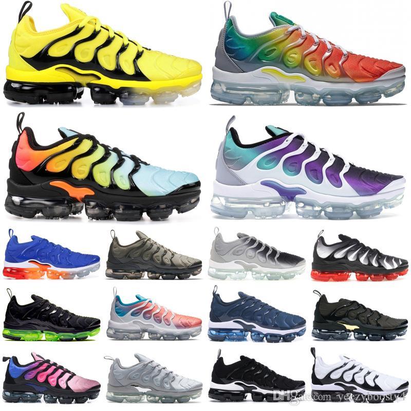 2019 nike vapormax Negro Claro Esmeralda Hombres Mujeres Chaussures TN Plus Zapatillas Rainbow Bumblebee Designer Shoes Triple Negro zapatillas 36-45