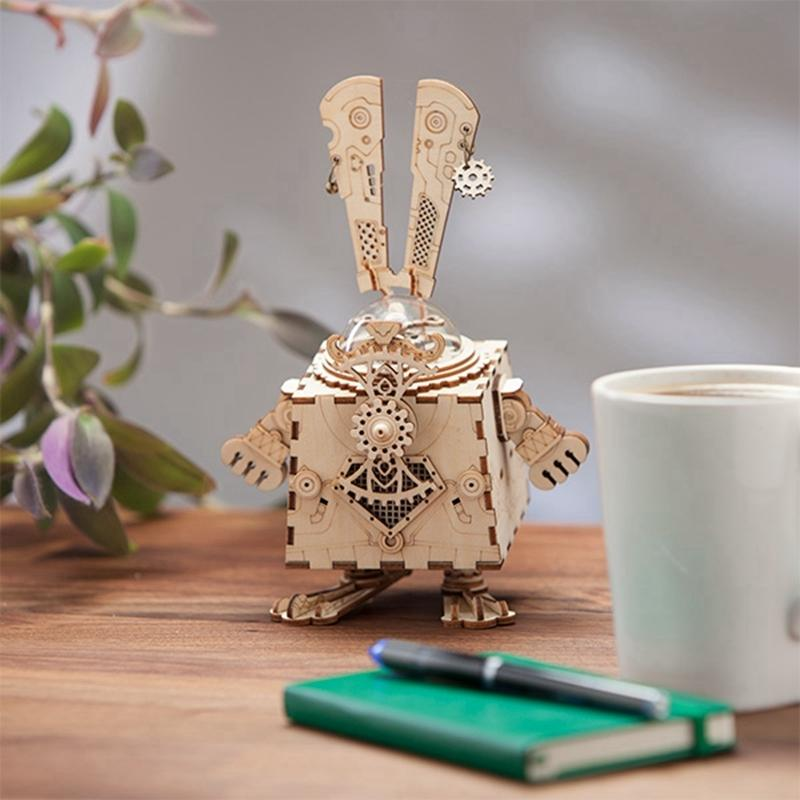 Robotime Creative DIY 3D Steampunk Rabbit Wooden Puzzle Game Assembly Music Box Toy Gift for Children Teens Adult AM481 Y200414