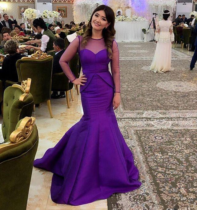 Illusion Long Sleeves Evening Dresses with Peplum Elegant Purple Mermaid Maid of Honor Party Gowns Prom