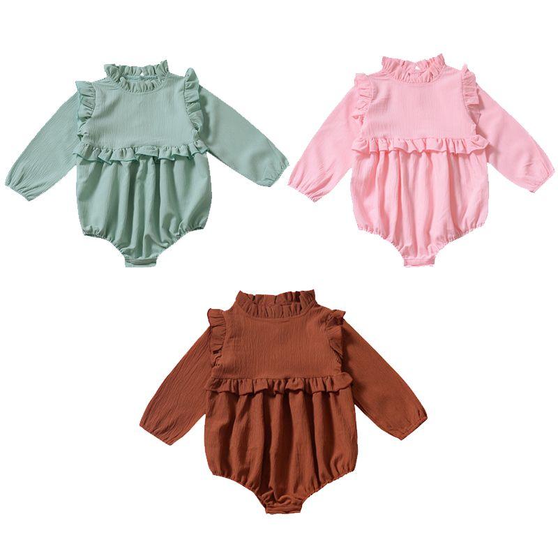 Neonate pagliaccetti Solid 3 colori casuale cotone a maniche lunghe Pizzo tuta monopetto Bambini Onesies Ragazzi Outfits 0-3T