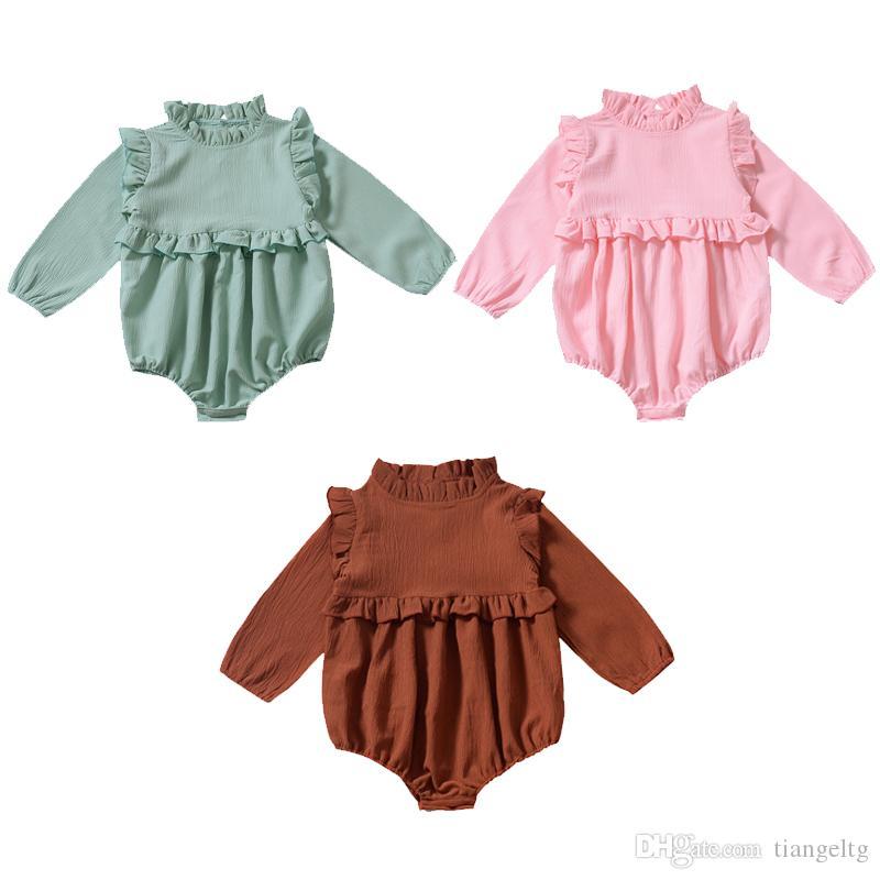 아기 소녀 단단한 rompers 3 색 캐주얼 긴 소매 면화 프릴 레이스 jumpsuit 단일 브레스트 아이들 onesies 소년 복장 0-3t