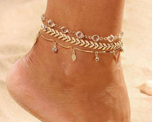 Joyería 3PCS / SET estrella de cristal Mujer para el tobillo del pie descalzo sandalias de ganchillo nuevo pie pulseras de tobillo de la pierna para las mujeres Cadena