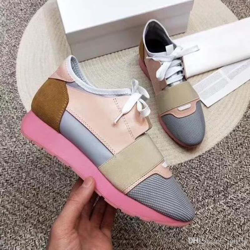 2020 nueva mujer del hombre casuales de cuero zapatos escotados de malla transpirable zapatilla de deporte al aire libre Formadores Runner Zapatos SneakerUS5-11.5 e3tb