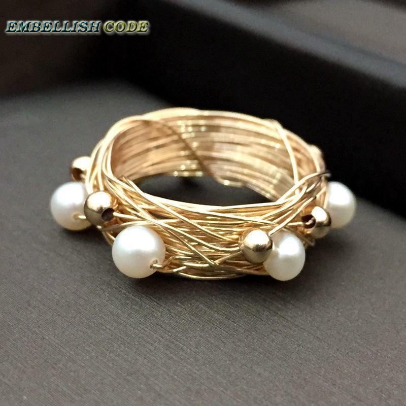New Designer Bird Nest Style Ring Gold Beads With 6 Round Like Ball Pearls Golded Wire Hand Make Ring Y19052301