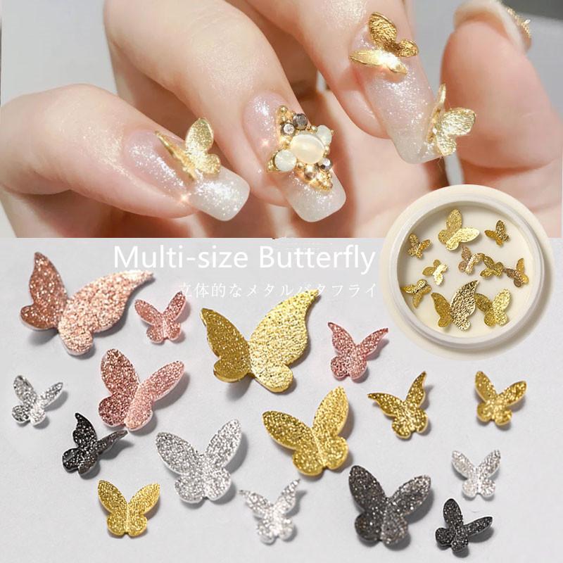 10 pc / Jewelry Box 3D Scintillante d'oro Black Butterfly Nails Art accessori metallici di scintillio farfalla in lega di Decorazione per manicure