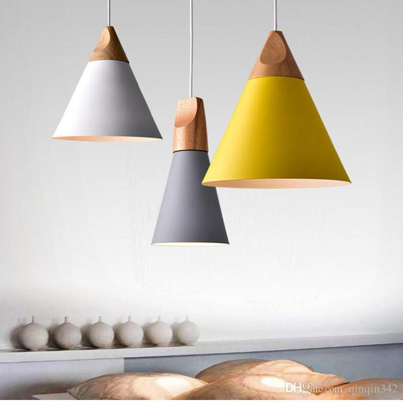New Free shipping Home Dining Room Pendant Lamps Modern Colorful Restaurant Coffee Bedroom Pendant Lights Iron Real Wood Material