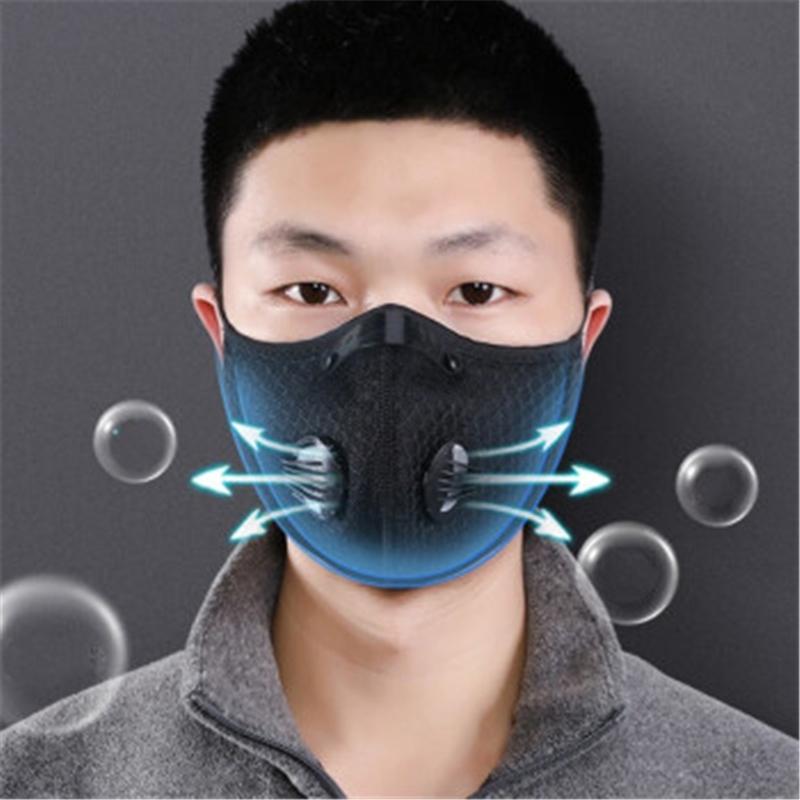 Válvula Negro al por mayor a prueba de polvo de la cara del buen funcionamiento duradero y transpirable de malla reutilizable 3D fltros Máscara Outlet # QA937