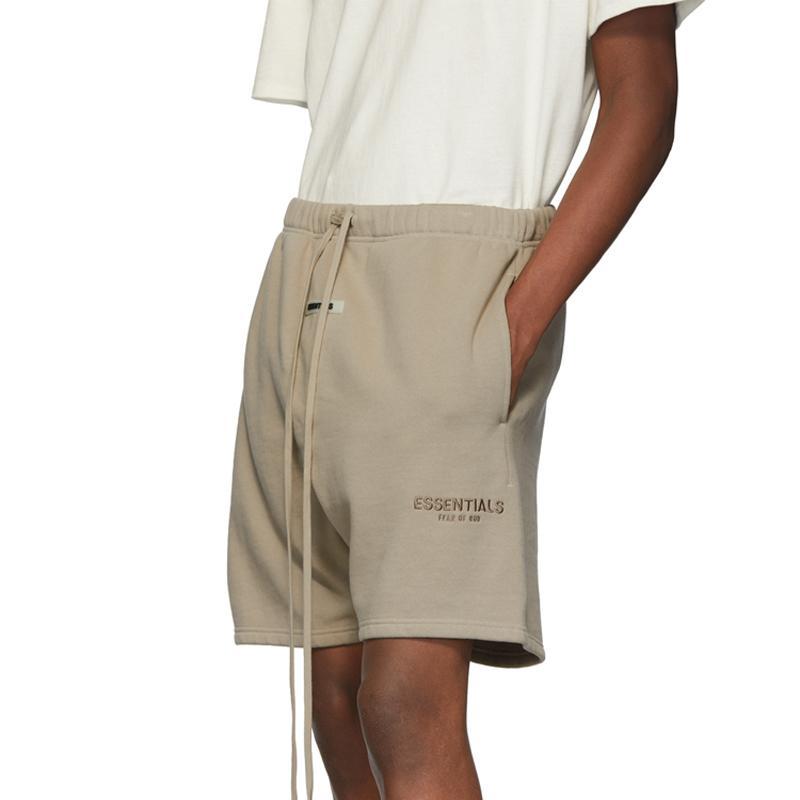 Mejor 19SS de Hip Hop de la calle bordado de la letra ocasional de los hombres de la calle verano elástico de la cintura del deporte del baloncesto del color puro cortocircuitos HFHLKZ018