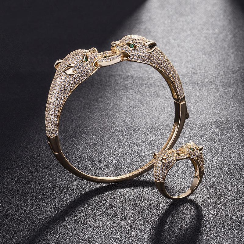 cabeça de leopardo animal do zodíaco homem mulher abertura pulseira personalidade 2.020 novas jóias luxo ouro rosa de aço inoxidável Coreia do criativo