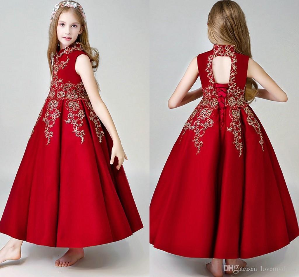 Red Lace Applique First Sagry Communnion Vestidos de cuello alto Satin Princess Girls Pageant Dress Vestidos de niña de flor Vestido de fiesta adolescente
