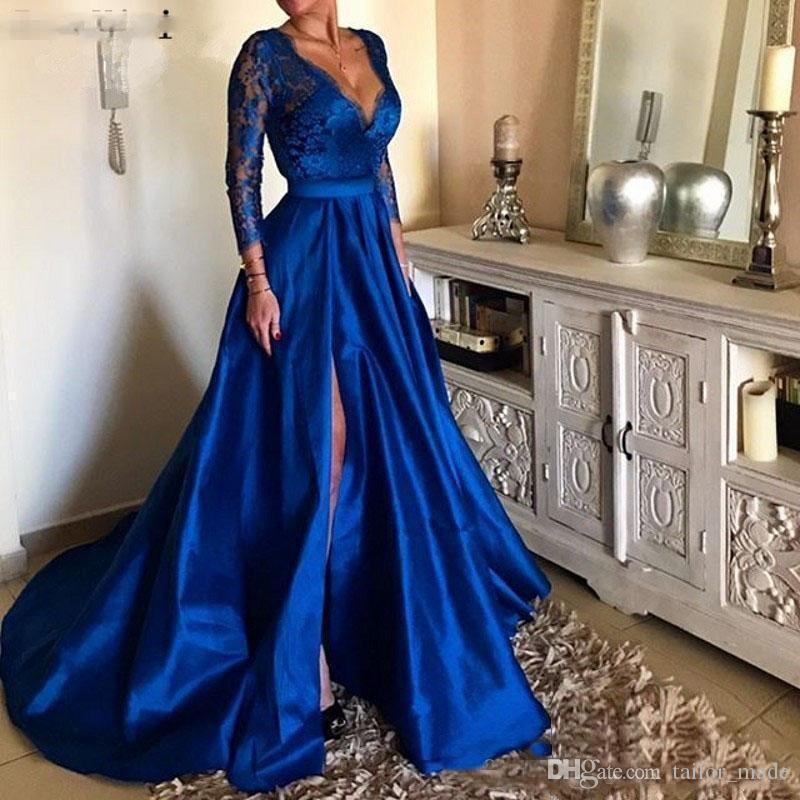 Vestidos Royal Blue Prom Vestidos con cuello en V manga larga apliques de encaje delantero de Split tarde formal Vestidos de fiesta