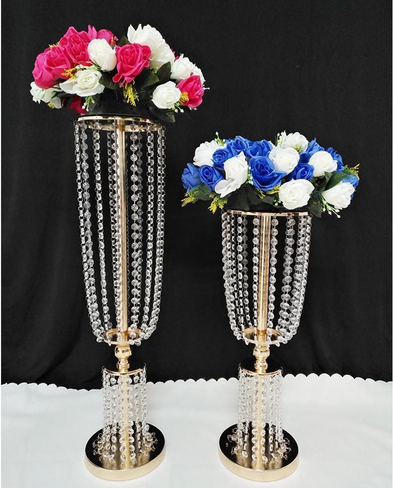 Altın Gümüş Akrilik Kristal Düğün Çiçek Topu Tutucu Masa Centerpiece Vazo Standı Kristal Şamdan Düğün Dekorasyon