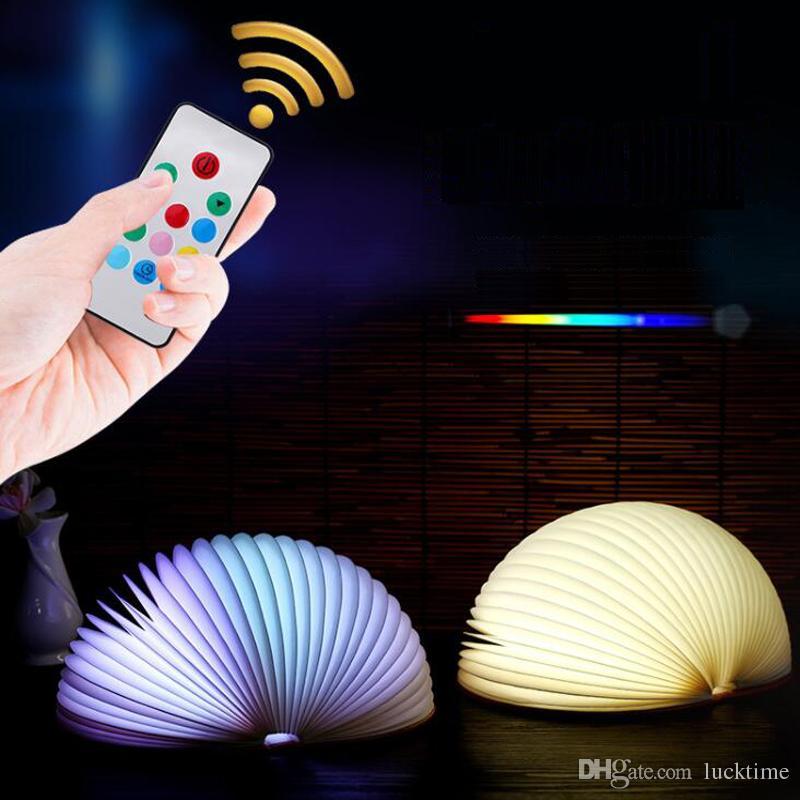 Remote control Folding light half-moon LED Foldable Book Shape Desk Lamp Fanshape Night Light Booklight USB Rechargeable