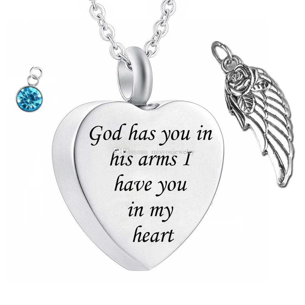 하나님은 당신을 천사 윙 매력 화장 쥬얼리와 함께 팔을 가지고 있습니다. 탄생석과 함께 기념 urn 목걸이