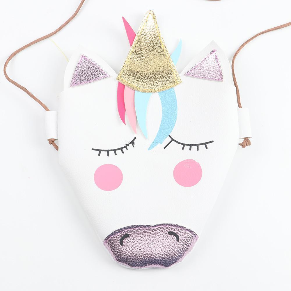 مصغرة حقيبة الكتف الطفل بنات يونيكورن رسول حقيبة بو الجلود الكرتون لطيف الاطفال بوتيك جديد EEA508
