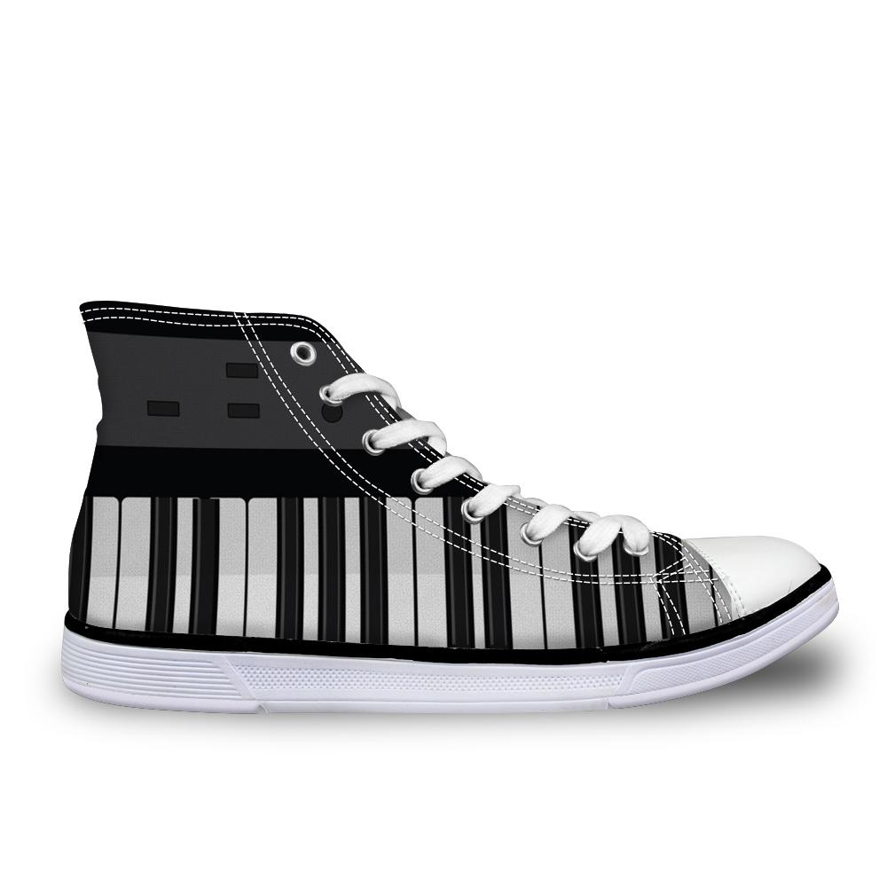 Customized HOT Men High Top Vulcanized Shoes Cool Piano Guitar Prints Men's Casual Canvas Shoes Sneakers Men Black Friday Gifts