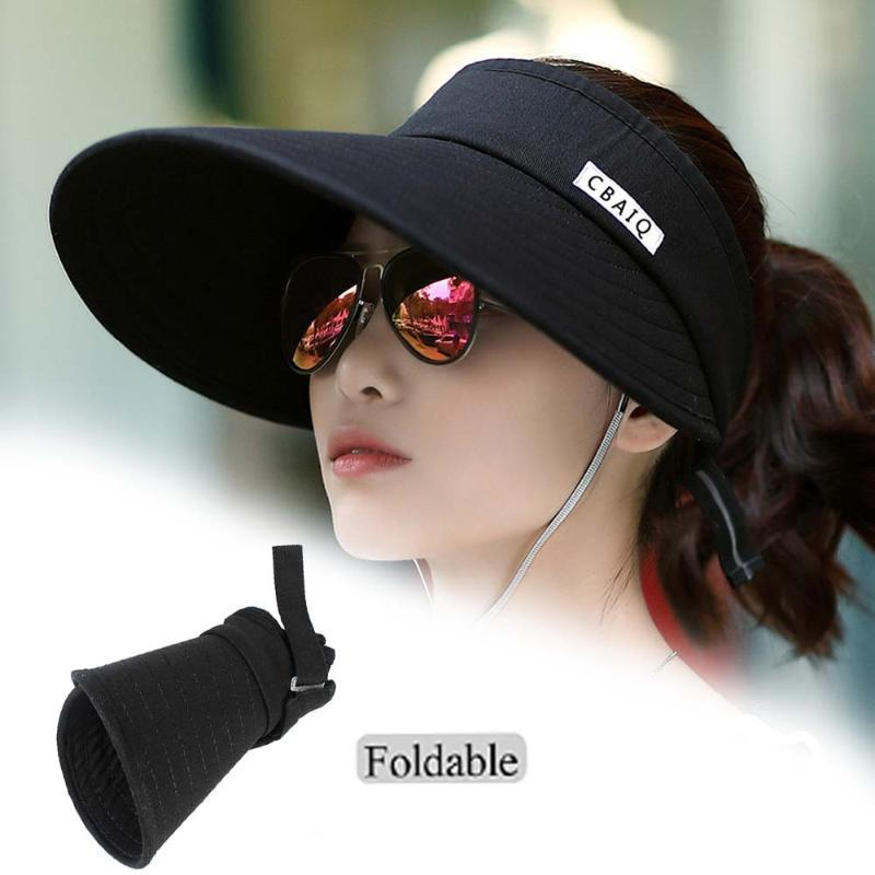 Korean Outdoor Sun Hat Travel Sunscreen Empty Top Hat Summer Ladies Folding Cap Casual Cycling