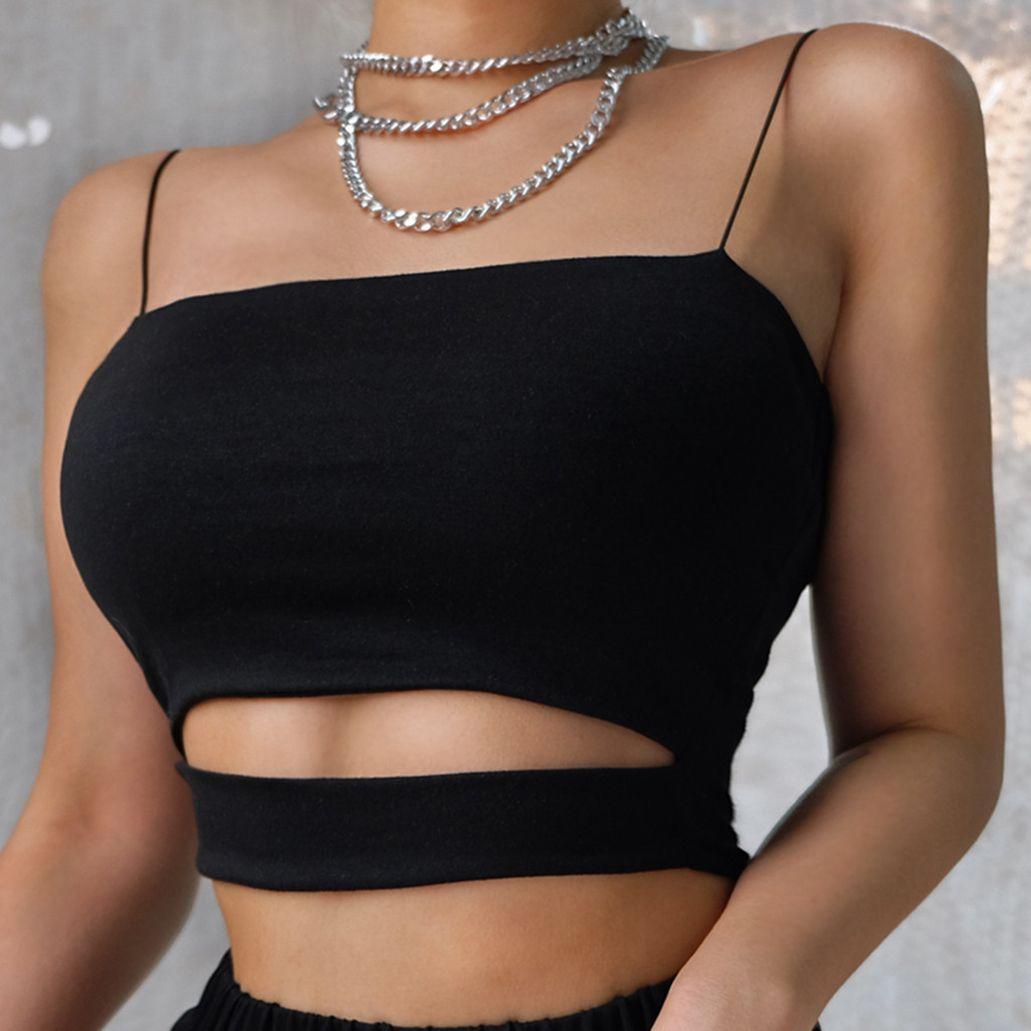New Top Curto Para Mulheres Sólidos Cortar mangas sobreposição Cruz Sling Top Female Garotas 90S Streetwear Verão Stlye Clothes