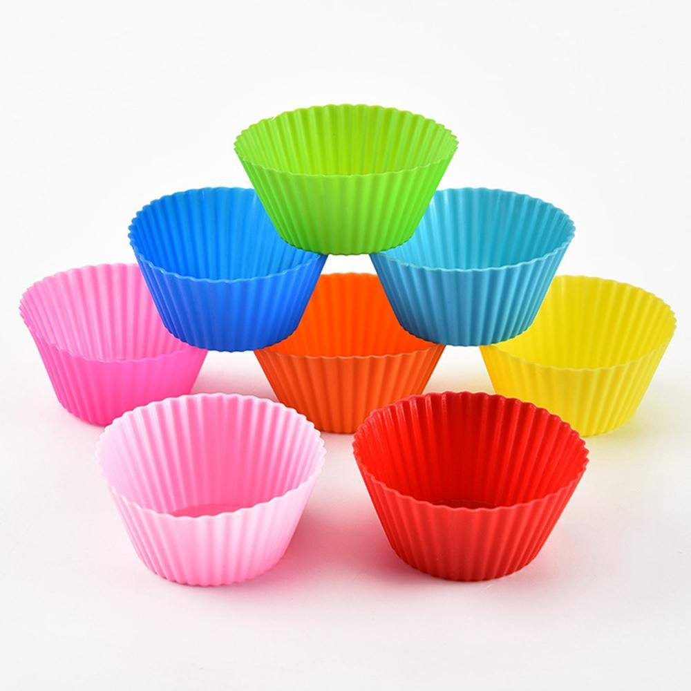 سيليكون كب كيك الكعك الخبز قوالب كأس كعكة ملون شكل دائري خبز القالب أدوات حالة كأس الخبز العفن HHA1302