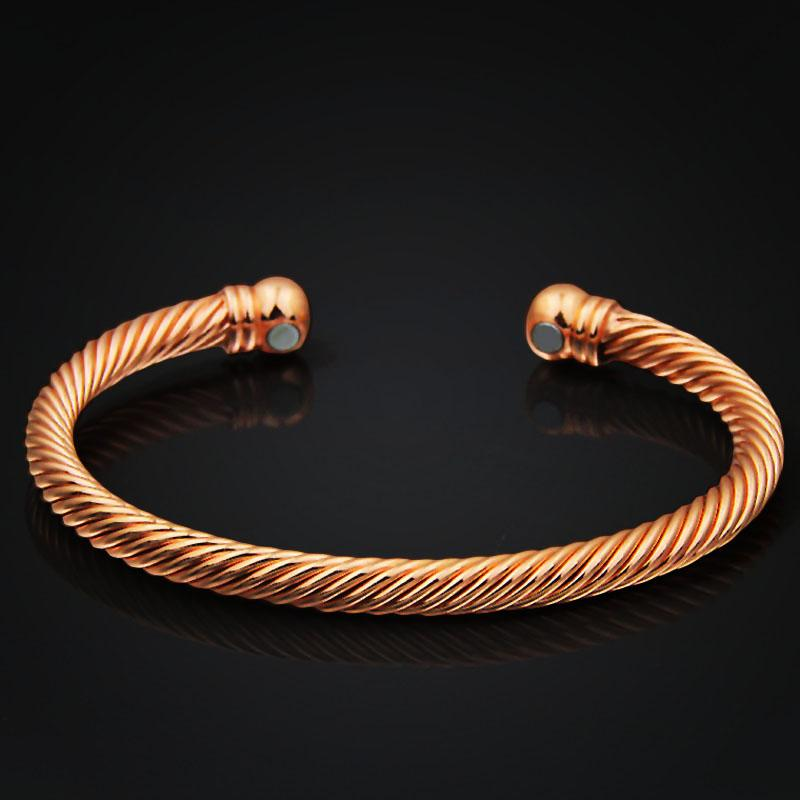 Ethnic Pure Copper Magnetic Wrist Bangle Bracelet For Pain Relief Rheumatic Arthritis Baided Rose Gold Color Men Women CUFF